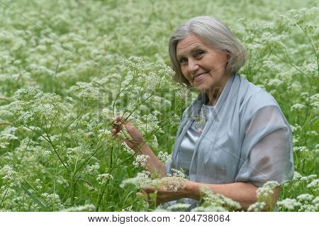 senior beautiful   woman posing with flowers  outdoors
