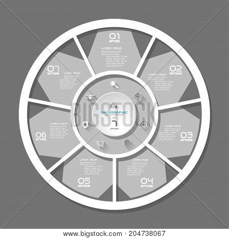 Vector simple infographic with seven segments cut from paper with white text and icons with long shadows on the dark gray background.