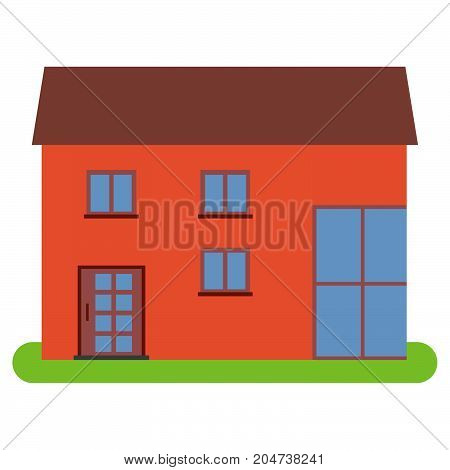 Private house with a brown roof and red walls on a white background. Vector illustration.