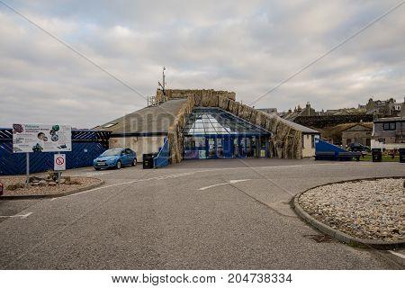 MacDuff, Scotland, March 2017: MacDuff Marine Aquarium building in Northern Scotland