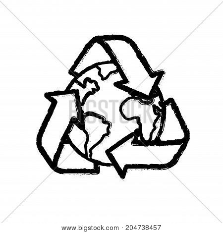 figure earth planet with recycle symbol design vector illustration