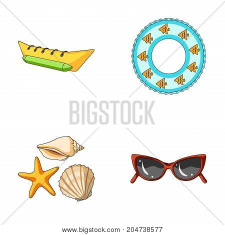 Water attraction, seashells, goggles.Summer vacation set collection icons in cartoon style vector symbol stock illustration .