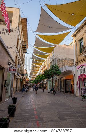 Nicosia, Cyprus, March 2017: Shaded Ledras walking street with shops in Nicosia city centre Cyprus