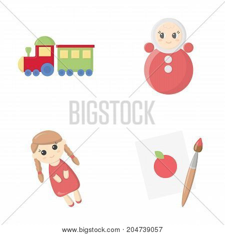 Train.kukla, picture.Toys set collection icons in cartoon style vector symbol stock illustration .