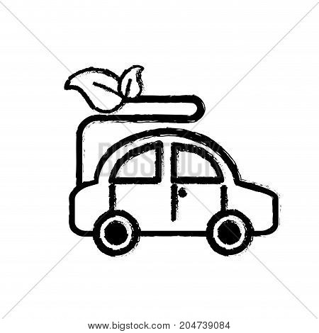 figure ecologycal car with leaves to environment care vector illustration
