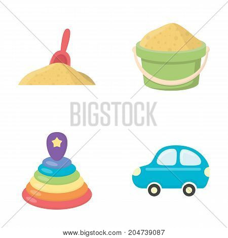 A red scoop in the sand, a green bucket with sand, a multi-colored pyramid, a blue toy car. Toys set collection icons in cartoon style vector symbol stock illustration .