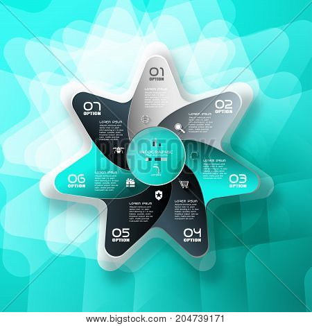 Vector infographic of color star with 7 rays cut from paper with round cutout in center shadows icons with long shadows and text on the gradient turquoise background.