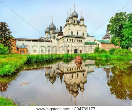 Church of Resurrection of Christ and Assumption Cathedral at Rostov Kremlin, Yaroslavl oblast, the Golden Ring of Russia.