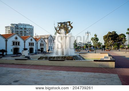 Larnaca, Cyprus, March 2017: Europe square with government buildings in Larnaca Cyprus