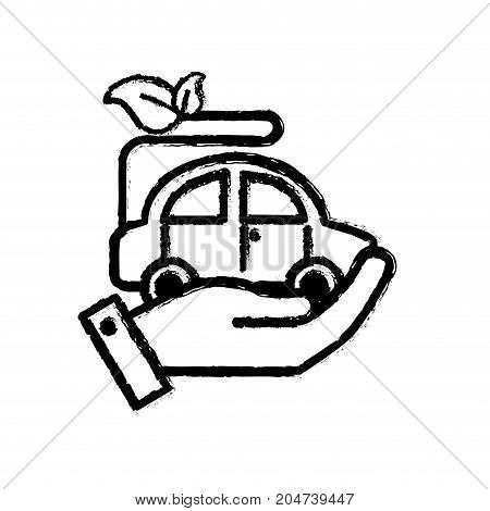 figure hand with ecologycal car with leaves to environment care vector illustration