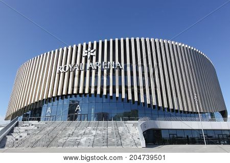 Copenhagen, Denmark - September 10, 2017: The Royal arena in Copenhagen, Denmark. The Royal Arena is a new multi-use indoor arena in Orestad with a capacity of 12 500 seats