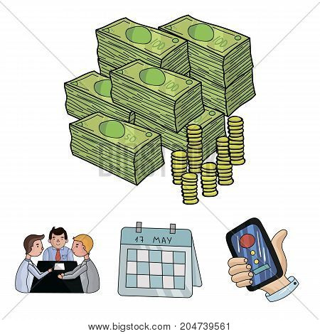 Calendar, telephone conference, agreement, cash.Business-conference and negotiations set collection icons in cartoon style vector symbol stock illustration .