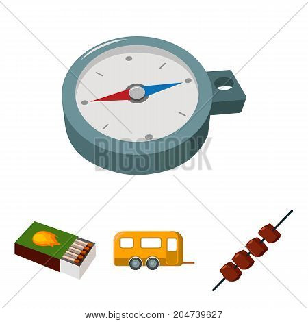 Trailer, shish kebab, matches, compass. Camping set collection icons in cartoon style vector symbol stock illustration .