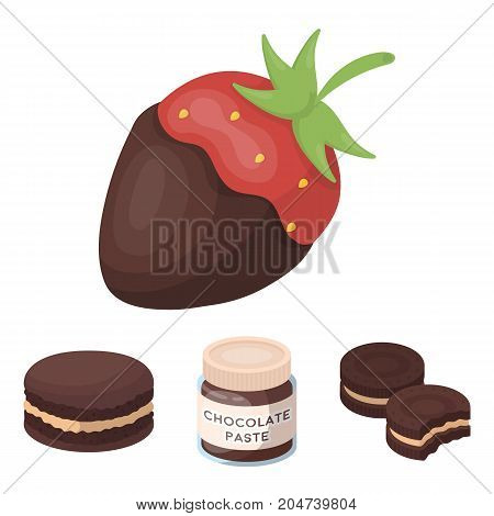 Chocolate pasta, biscuit, strawberry in chocolate, hamburger. Chocolate desserts set collection icons in cartoon style vector symbol stock illustration .