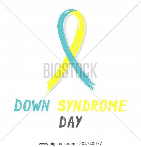 Symbolic ribbon - yellow and blue - Down Syndrome Day