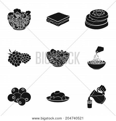 Fruit, dessert, sandwiches and other types of food. Food set collection icons in black style vector symbol stock illustration .