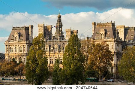 The Hotel de Ville in Paris, France, is the building housing the city local administration.