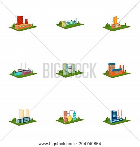 Processing factory, metallurgical plant and other production. Factory and industry set collection icons in cartoon style isometric vector symbol stock illustration