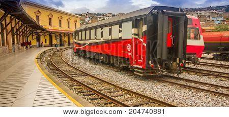 QUITO, ECUADOR AUGUST 20 2017: Ecuadorian steam colomotive in chinbacalle trains museum, located in the city of Quito, Ecuador.