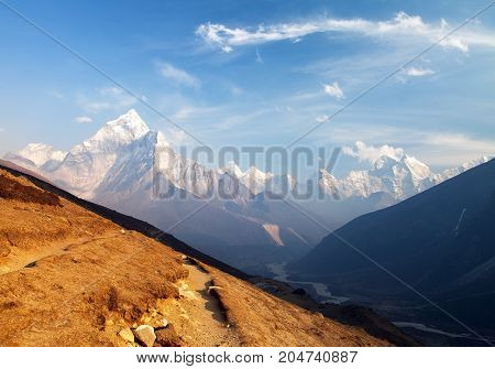 Evening view of mount Ama Dablam on the way to Mount Everest Base Camp Khumbu valley Solukhumbu Sagarmatha national park - Nepalese himalayas mountains