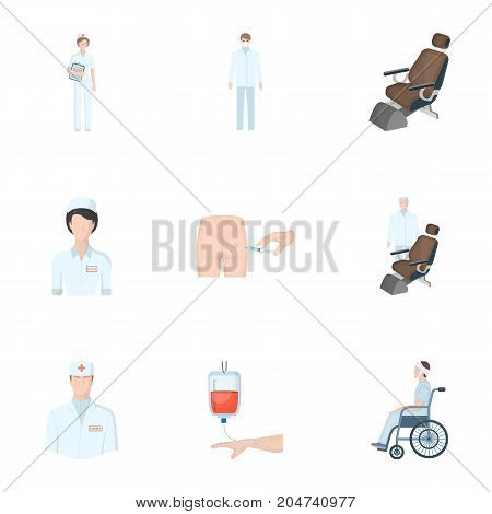 Injured in a stroller, blood transfusion, blood sugar test, doctor, medical staff. Medicine set collection icons in cartoon style vector symbol stock illustration .