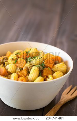 Macaroni pasta with creamy pumpkin and mincemeat sauce garnished with parsley served in white bowl photographed with natural light (Selective Focus Focus in the middle of the dish)