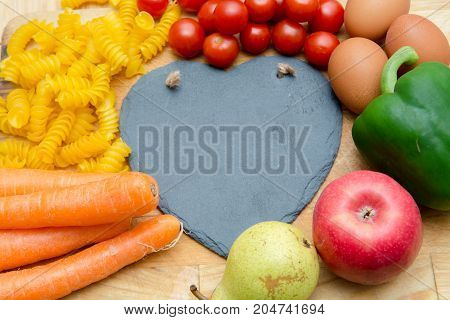 Food Groups, Natural Healthy Fruit And Vegatables With A Heart Shape