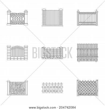 A fence of metal and bricks, wooden palisade and other varieties. A different fence set collection icons in outline style vector symbol stock illustration .