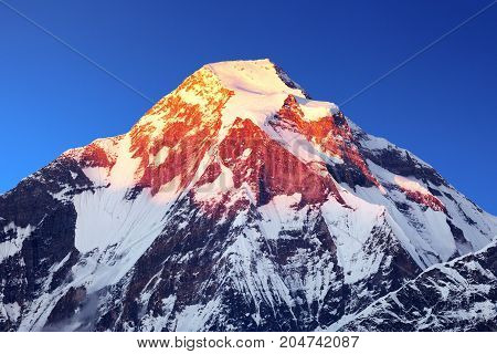 Mount Dhaulagiri. Evening sunset view of mount Dhaulagiri with blue sky Dhaulagiri Himal Nepal