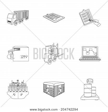 Forklift, cargo plane, goods, documents and other items in the delivery and transportation. Logistics and delivery set collection icons in outline style isometric vector symbol stock illustration .