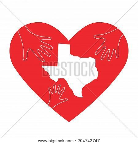 Vector Illustration: helping hands, heart and Texas map silhouette. Great as donate, love or relief hand icon. Support for volunteering work and relief after Hurricane, floods, landfalls in Texas.