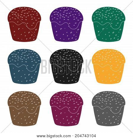 Cake with white fondant. Easter single icon in black style vector symbol web stock illustration.