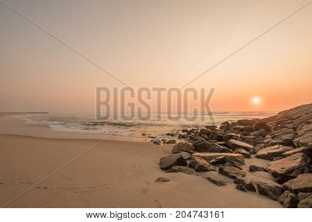 Sunset view of Costa Nova Beach, Aveiro, Portugal