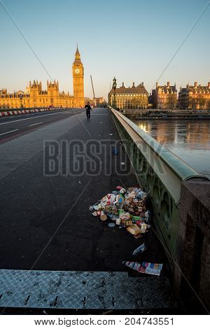 London, England, April 2017: A pile of garbage left on Westminster Bridge in London early in the morning England