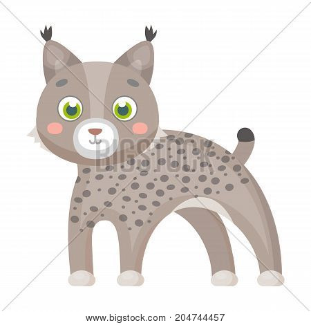 Lynx, single icon in cartoon style.Lynx, vector symbol stock illustration .