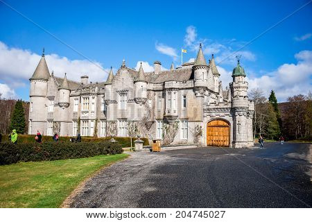 Balmoral, Scotland, April 2017: Balmoral Castle view from back side Aberdeenshire Scotland