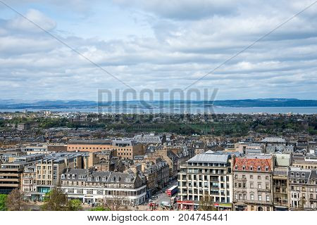 Edinburgh, Scotland, April 2017: A view to river Forth and Edinburgh city from the castle wall Scotland