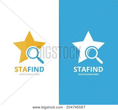 Vector star and loupe logo combination. Leader and magnifying embrace symbol or icon. Unique search logotype design template.