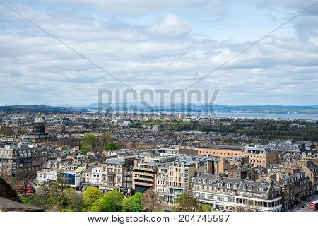 Edinburgh, Scotland, April 2017: Edinburgh city view from the castle wall Scotland