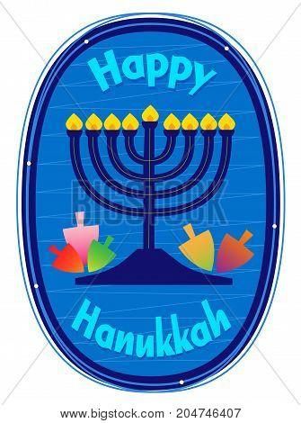 Happy Hanukkah decorative clip-art with menorah and dreidels. Eps10