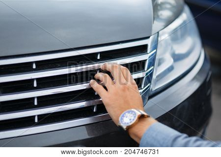 Driver checking the car before used or buy and sell, mechanic service
