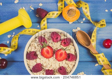 Vintage Photo, Oatmeal With Fruits, Tape Measure And Dumbbells, Concept Of Slimming, Sporty Lifestyl
