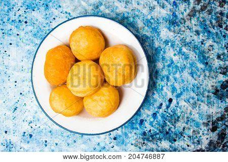 Homemade Doughnuts Covered With Sugar Powder