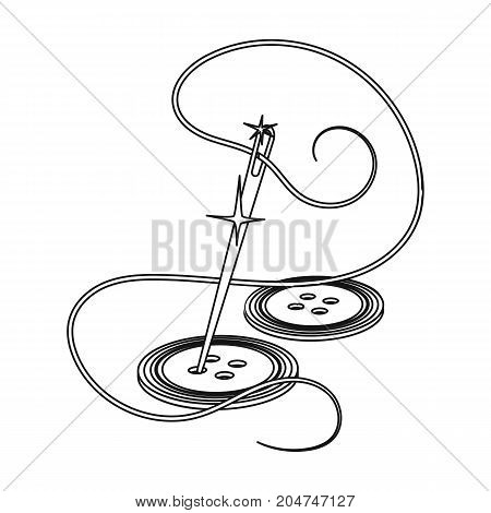 Sewing of buttons. Sewing and equipment single icon in outline style vector symbol stock illustration .