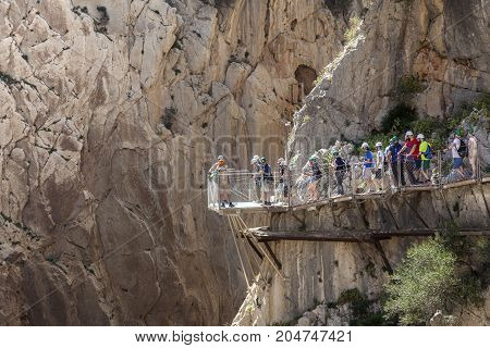 El Chorro Spain - May 31 2017: People at the hiking trail 'El Caminito del Rey' - King's Little Path former world's most dangerous footpath wich was reopened in May 2015. Ardales Malaga province Spain