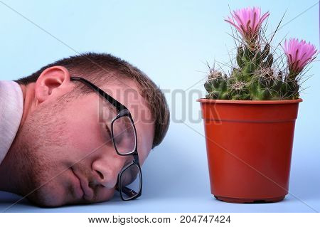 The man in glasses lies next to a small cactus in a red penny and gently pink flowered, isolated on a neon background. Lovely plant indoor. Cactus flower. Cactus in a plastic penny.