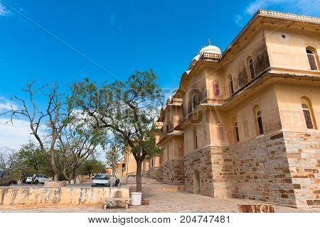 JAIPUR RAJASTHAN INDIA - MARCH 11 2016: Horizontal picture of old building inside Nahargath Fort on the top of the mountains of Jaipur known as pink city in India.