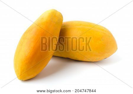 Ripe papaya fruit isolated on white background