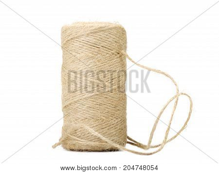 Photo of white wool thread on white background. homework