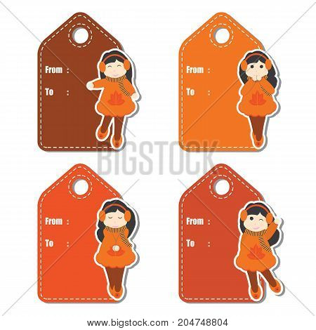 Cute girls on Autumn clothes vector cartoon illustration for Autumn season gift tag design, label tag and sticker set design